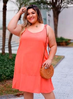 Vestido Plus Size Coral Alto Verão