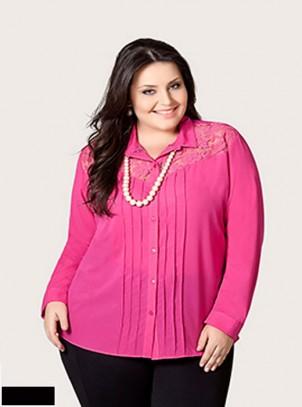 Camisa Plus Size Crepe e Renda