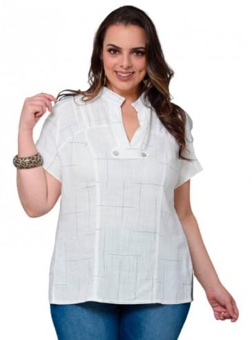 Camisa Plus Size em Linho Quadriculada