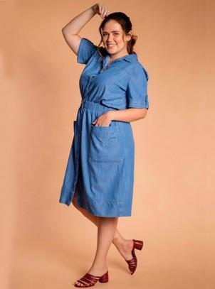 Vestido Plus Size Jeans Midi Azul