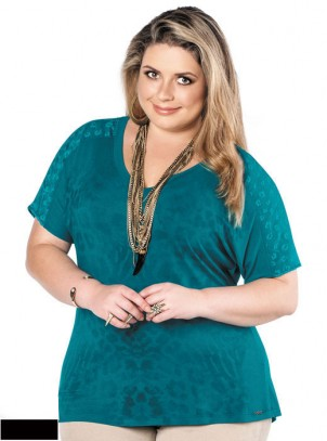 Blusa Plus Size Preta Viscocrepe