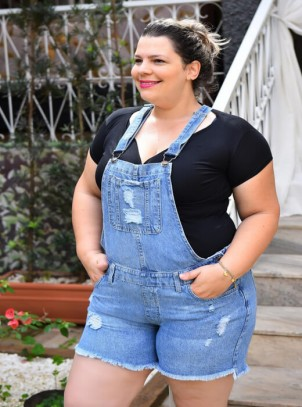 6abd31bf8 Jardineira Jeans Plus Size | Do44ao54 Moda Plus Size