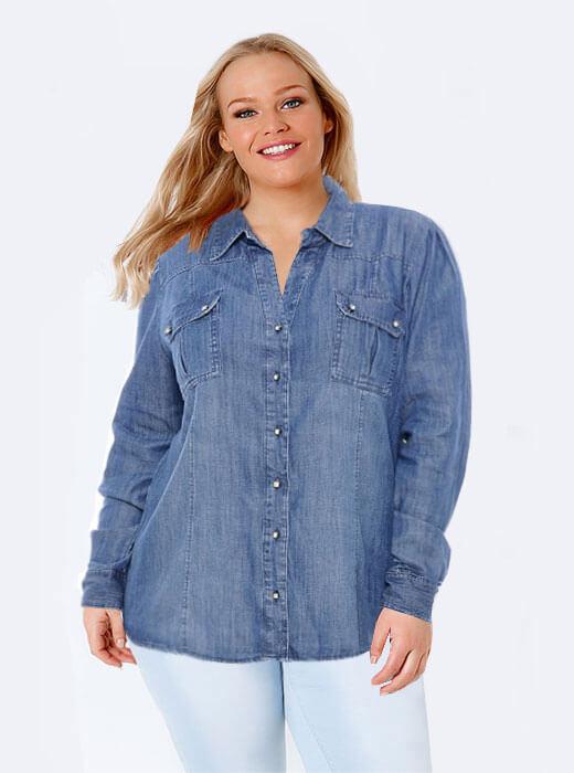 08402c2984a7 Camisa Jeans Plus Size Marileti | Do44ao54 Moda Plus Size