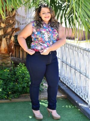 Calça Skinny Plus Size Cós Elástico