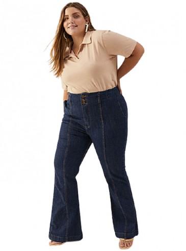 Calça Flare Plus Size Jeans Cintura Alta