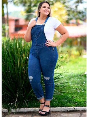 Jardineira Jeans Plus Size Com Lycra Azul Escuro
